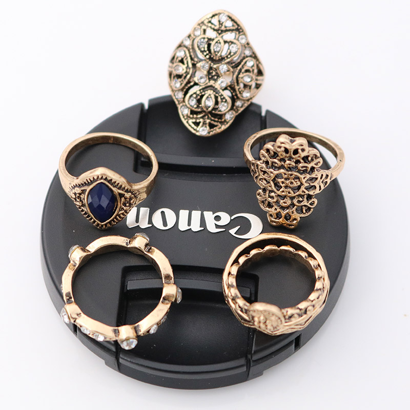 ZIVangela 6 pcs/set Fashion Vintage Punk Midi Rings Set Antique Gold Color Boho Female Charms Jewelry Knuckle Ring For Women