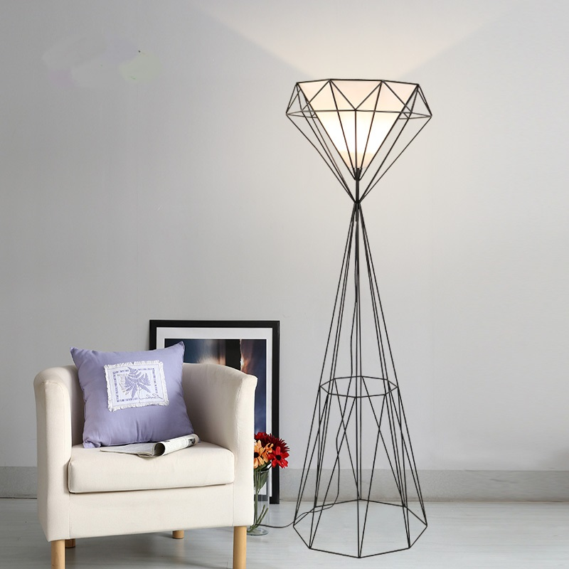 Nordic modern iron floor lamps creative living room bedroom bedside lamp design retro wrought iron vertical floor lights za chinese cloth floor lamps modern living room bedroom bedside lamp study hotel white decorations lighting floor lights za