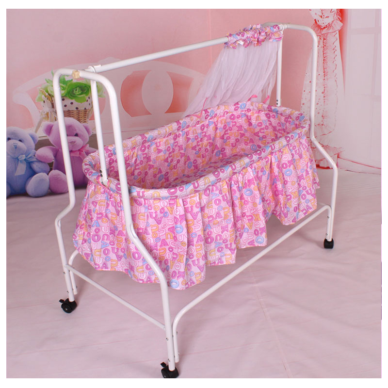 Folding Baby Cradle Crib with Netting Newborn Baby Rocking Crib Swing Bed Mosquito Net Roller Sleeping Basket Baby Bedding corn husks cradle no paint wood frame cotton baby bassinet with mosquito net and mat steel frame baby cradle baby rocking crib