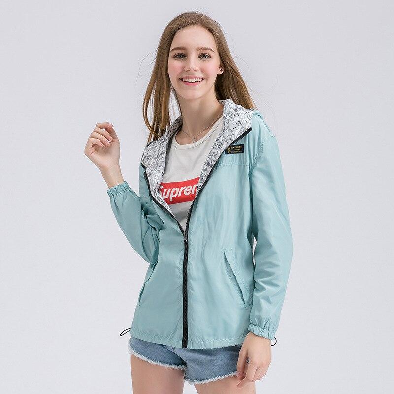 FEKEHA Spring Autumn Women Bomber   Basic     Jacket   Pocket Zipper Hooded Two Side Wear Cartoon Print Outwear Loose Coat XS-XXL