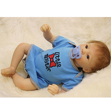 20 Inch 50 cm Rooted Mohair Reborn Baby Dolls Lifelike Newborn Babies Silicone Boy Toy With Cloth Body Kids Birthday Xmas Gift