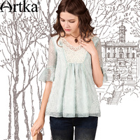 Artka Women S Romantic Chiffon Lace Blouses V Neck Half Sleeve Embroidery Tops Retro Perforated Flare