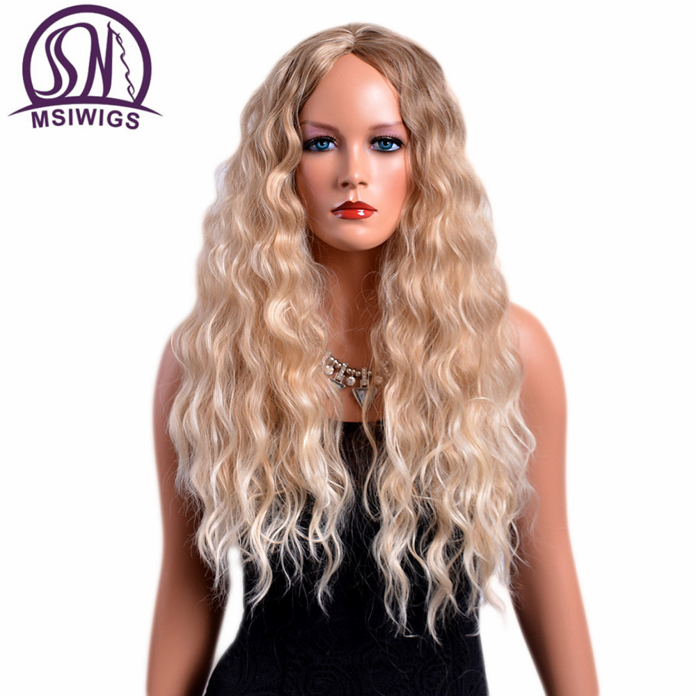 MSIWIGS 28 Inches Long Curly Wigs For Women Blonde Color American Afro Synthetic Hair Ombre Wig