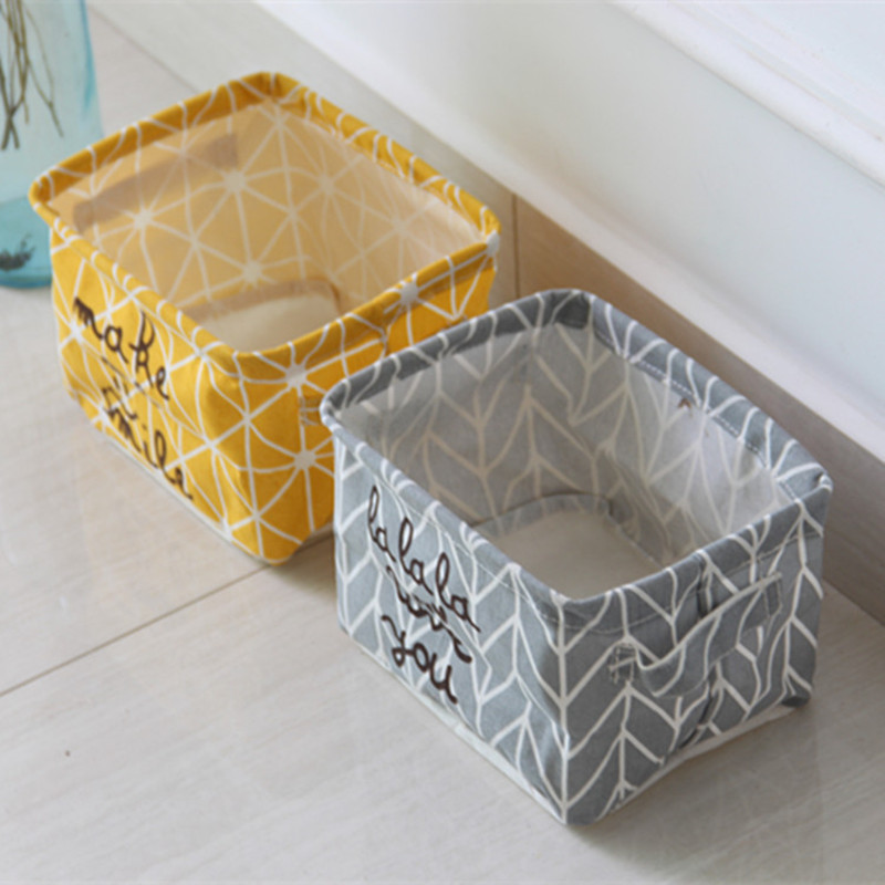 Multifunctional canvas simple kitchen clothing wardrobe foldable storage baskets organization box desktop office laundry basket
