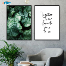 Green Plant Leaf Canvas Art Prints Posters Nordic Quote Wall Painting For Living Room Picture Scandinavian Decor