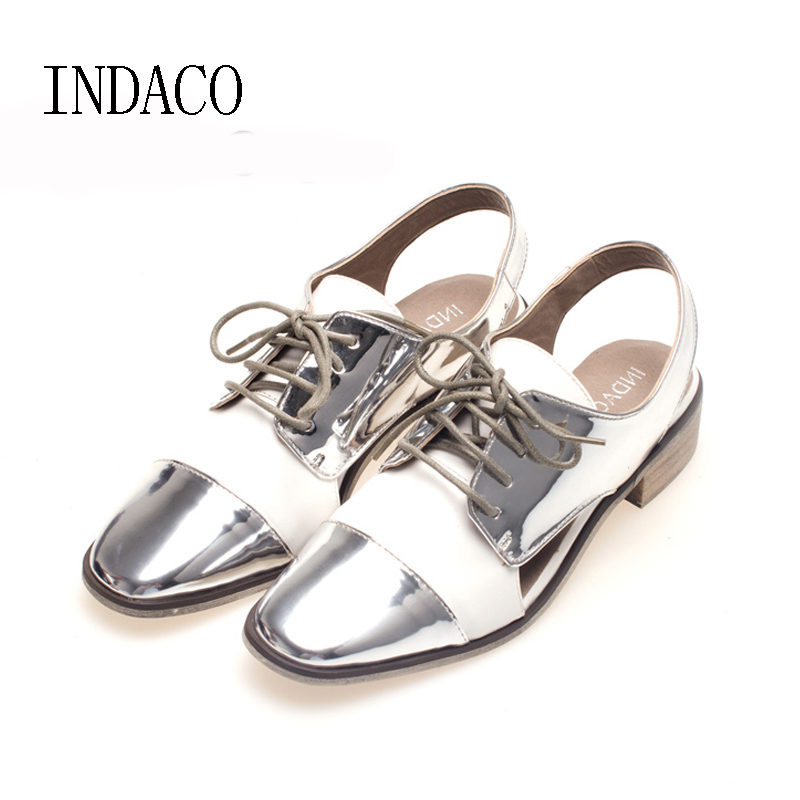 Women's Silver White Brogue Shoes Hollow Out Lace Up Scarpe Donne 2017 Ladies Shoes Summer Zapatos Mujer Blancos modo delle donne golden goose low top distressed super star bambini genuino uomo di cuoio casuale scarpe for children s shoes