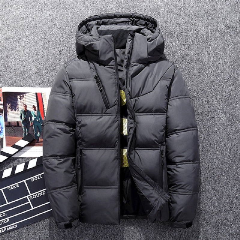 Hot Sale Windproof Down Jackets Men Warm Hooded Winter Outerwear High Quality Smart Casual White Down Coats Male Padded Jacket(China)