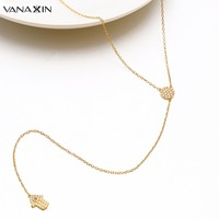Lucky Hamsa Long Necklaces Long Necklaces For Women Gold White CZ Jewelry Pendant Accessories Girls Gifts