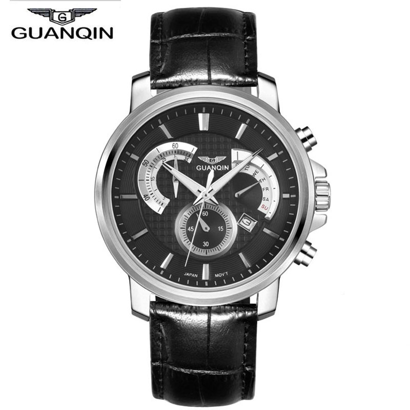 Relogio Masculino GUANQIN Mens Top Brand Luxury Watches Men Military Sport Luminous Wristwatch Chronograph Leather Quartz Watch mens watches top brand luxury guanqin men fashion moon phase luminous wristwatch sport leather quartz watch relogio masculino