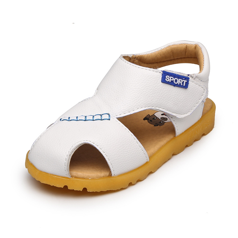 Kids summer shoes 2018 summer white beef tendons at the end of the boys and girls beach kids leather kids sandals kids beach