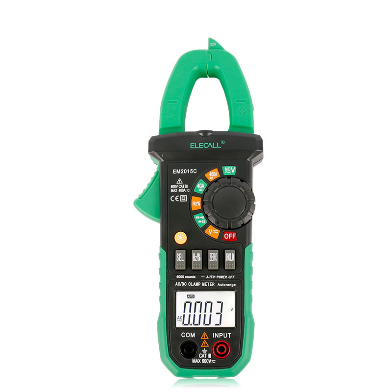 Update Clamp Meters EM2015C Full Protection Clip-on Multimeter 600A AC & DC Current NCV LCD Backlight Digital