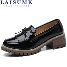 LAISUMK Women Flats Shoes Tassel Knot Patent Leather Loafers Med Heel Boat Moccasin Mules for women Autumn
