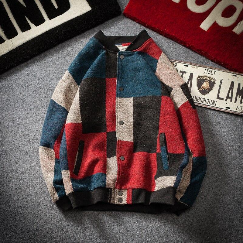 2018 Outono e inverno novo bloco de cor casaco de lã dos homens adicionar gordura para o dia homem laço material de jovens estudantes casaco masculino