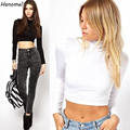 womens tops fashion 2017 vintage solid cropped turtleneck camisetas roupas femininas long sleeve crop top t shirt women C678