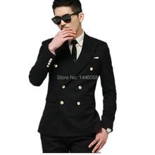 Latest Coat Pant Design 2016 Black Slim Fit Double Breasted Wedding Groom Suit Tuxedos For Men Wedding Dress Men Suits