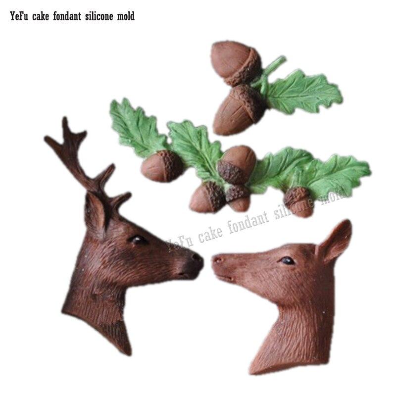 3D karácsonyi elk szarvas makk levelek Fondant szilikon penész - Konyha, étkező és bár