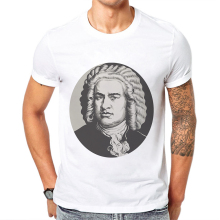 New High Quality Mens Tshirts Johann Sebastian Bach Print T-Shirt Short Sleeve Cotton Fashion Tops Tees Camisetas Hombre Verano