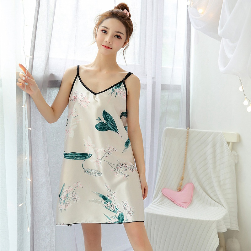 Fashion Women Sexy Floral Print Ice Silk V-Neck Sleepwear With Eye Mask  Large Size Loose Vest Home Service