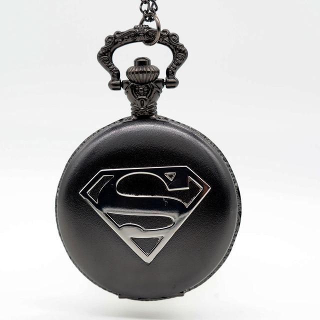 Fashion Black-Silver S Superman Quartz Pocket Watch Analog Pendant Necklace Men