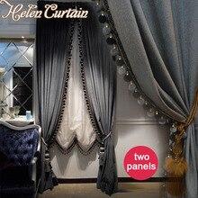 Helen curtain 2 Panels Luxury European Style Blackout Italian Velvet Valance Curtains For living Room Embroidered White Tulle 66