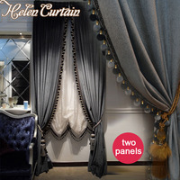 Luxury Europe Style Italian Velvet Curtains With Valance Blackout Thick Solid Curtains For Bedroom Window Treatments