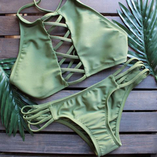 Cross Bandage Hollow Out Halter String Push Up Bikini