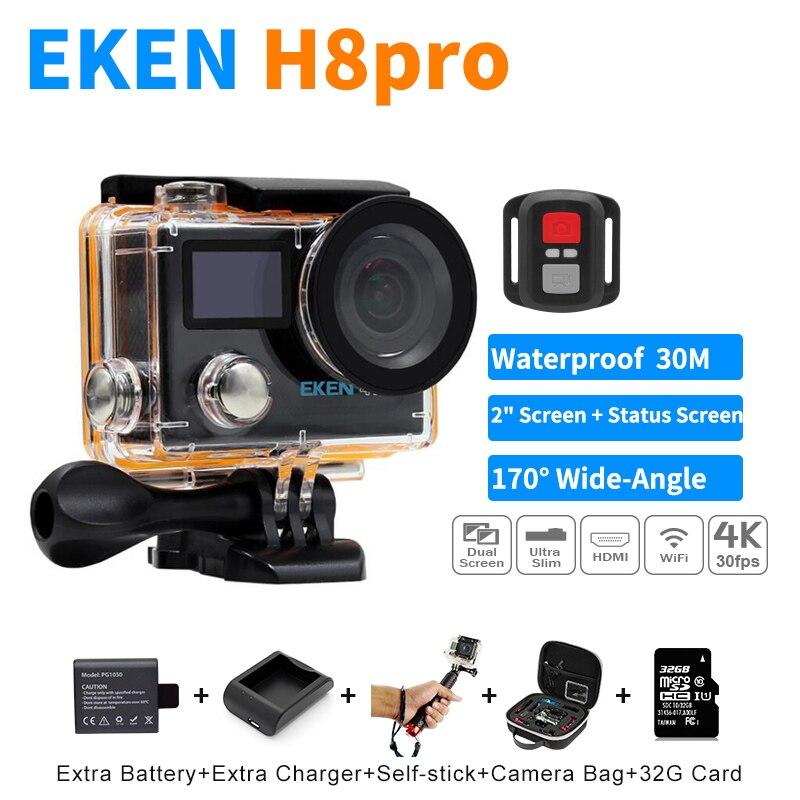 100% Nueva EKEN H8 Pro Ultra 4 K Wifi Cámara de la Acción Con Control remoto LCD