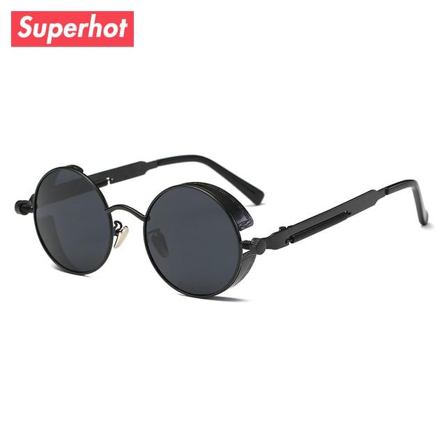 37a8f78a3cb Superhot Eyewear - Vintage Steampunk Sunglasses Round Designer goggles Men  Women Punk Sun glasses Shades Black