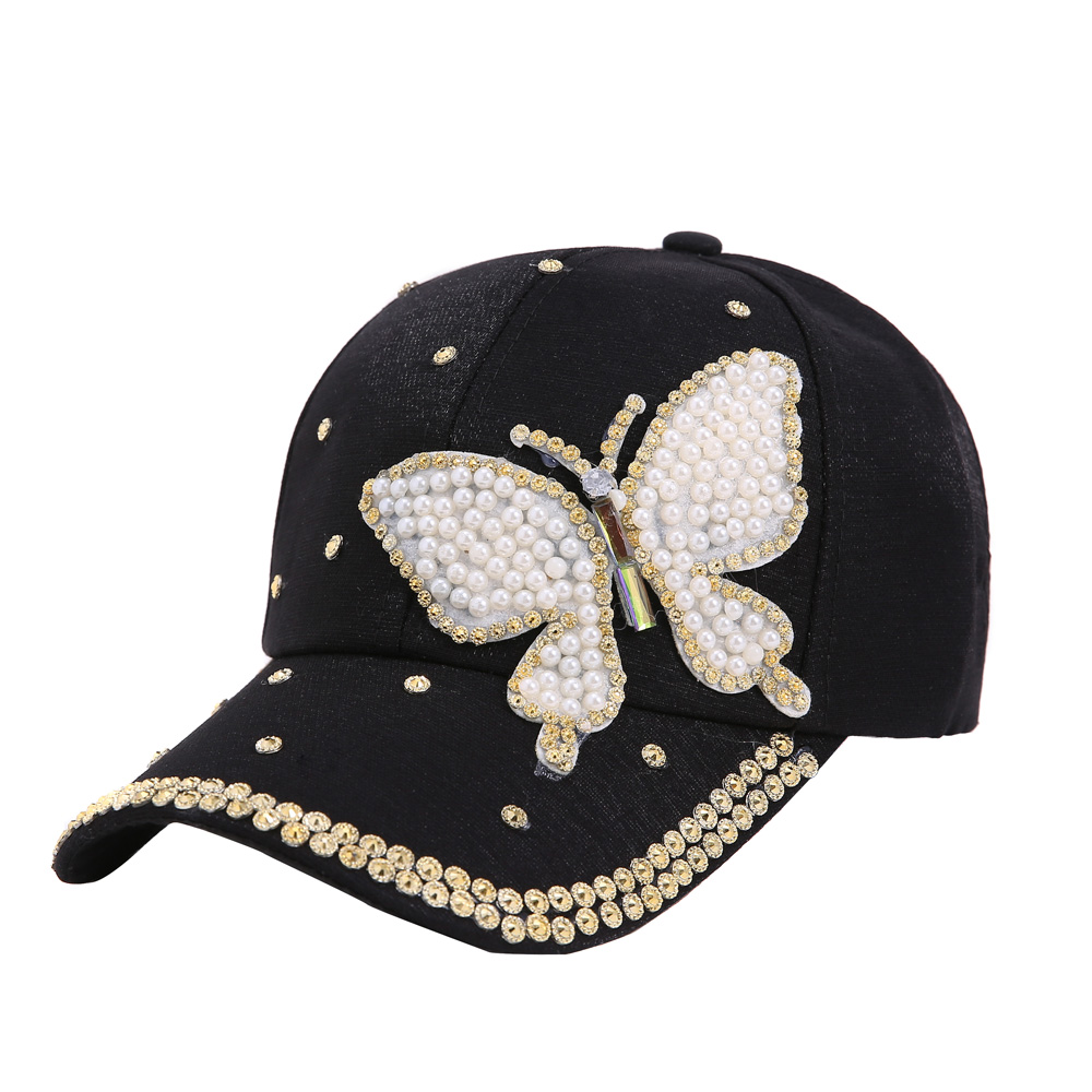 1 Pcs Schmetterling Perle Form Pailletten Kappe Frauen Baumwolle Hip Hop Baseball Cap Snapback Kappe Sonnenblenden Hut Sommer Harajuku 4 Farben Starke Verpackung