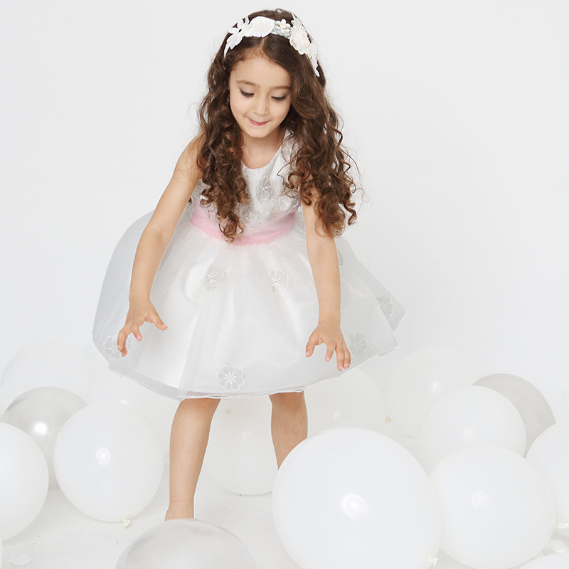 2016 Time-limited Knee-length Cute Kids Dresses For Girls Girl Dress Mesh Sleeveless Princess Dress New Arrival Ball Gown Girls 2016 sale new knee length kids kids dresses for girls free shipping2013 fashion dance dressperformance wear costumes th3004c