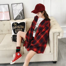 Spring women jacket 2018 new loose plaid Peter pan Collar female outerwear wild single-breasted long-sleeved lady jacket ly0337 2018 spring new women fashion trench coat female loose cardigan stitching printing long sleeved single breasted outerwear cx88