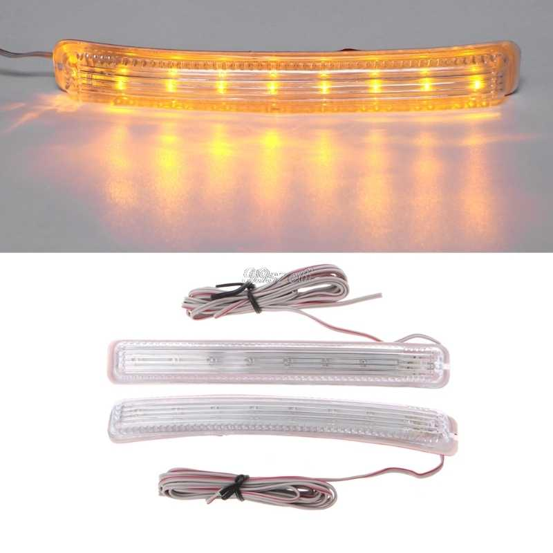 2Pcs Universal Soft Amber 9 SMD12V LED Car Rearview Mirror Indicator Lamp LigDS