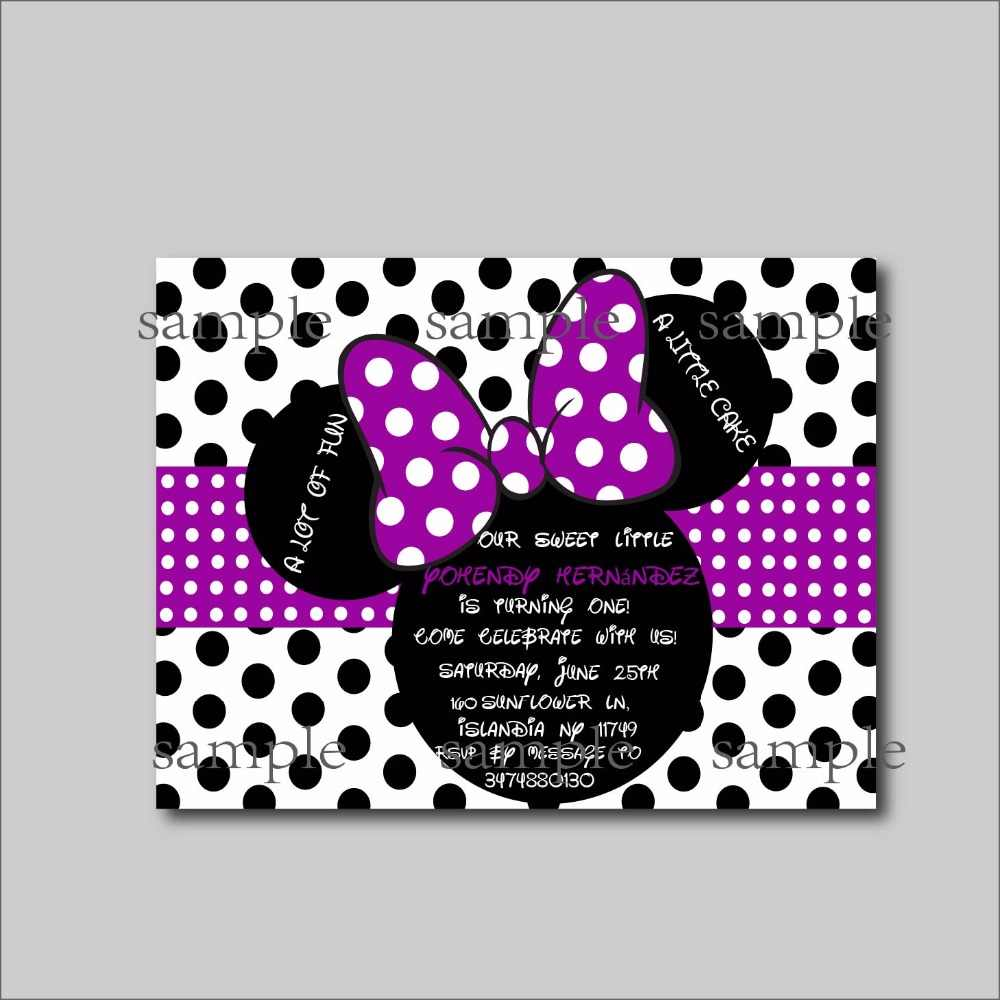 14 Unids Lote Personalizado Púrpura Minnie Mouse Invitaciones De Cumpleaños De Minnie Mouse Bebé Ducha Invita A Fiesta De Cumpleaños De Las Niñas