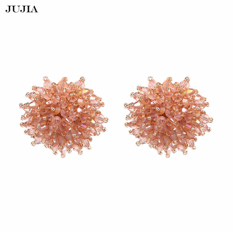 JUJIA 2019 Fashion Jewelry Crystal Pink Beads Charm Earrings Women Vintage  Maxi Statement Stud Earrings Brincos ad2f3505988b