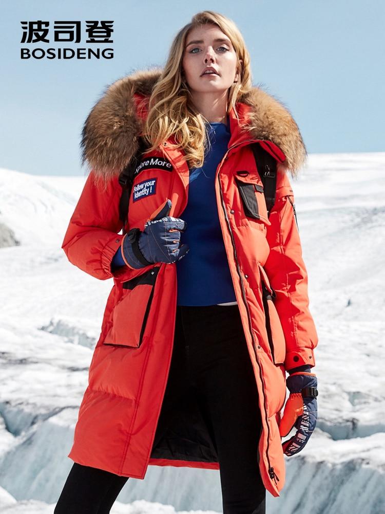 BOSIDENG 2018 nuevo duro invierno espesar las mujeres de abrigo de piel natural impermeable a prueba de viento de alta calidad B80142148