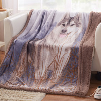 High Quality Wolf Totem Blankets Double Face 100 Flannel 130 160cm Air Condition Nap Blanket Animal