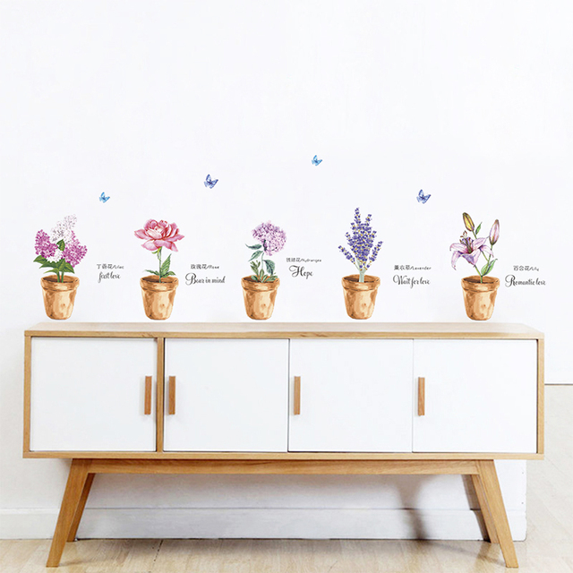 US $2.8 20% OFF|Garden Lilac Roses Lily Lavender Wall Stickers Flower  Floral Plant Butterfly Decorations Home Living Room Bedroom Decor Wall  Art-in ...