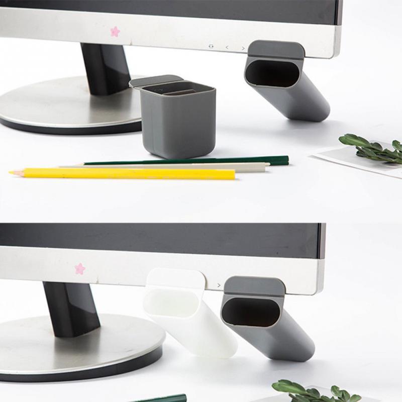 Stick On Desktop Pen Holder Makeup Storage Pot Case Plastic Desk Organizer Stationery Holder Pencil Vase #921 New