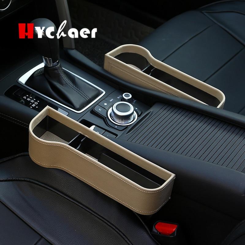 1Pc Car Left Seat Gap Slit Pocket Storage Box Organizer PU Case Pocket Black