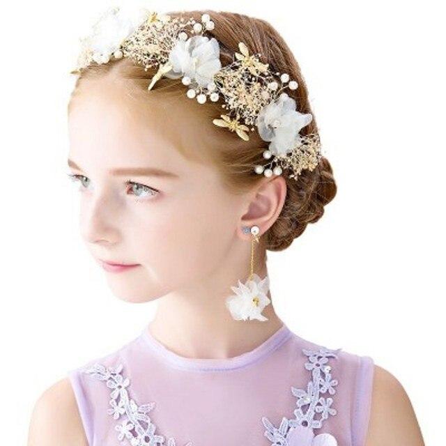 Triangulación de envío de anillos de corona de flores de Boda de Princesa para niñas y niños para rendimiento de Cumpleaños + pendientes accesorios de vestido