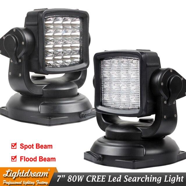 Black 12v 24v 80w 360 LED Rotating Remote Control Work Light Spot Flood beam for SUV Boat Home Security Farm Garden lights x1pc
