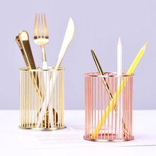 Gold/Rose Gold Round Stick Cylinder Pen Pencil Collection Holder Makeup Brushes Storage Tool Home Office Desk Organizer