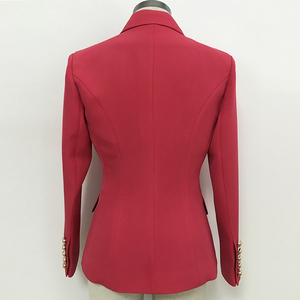 Image 3 - 高品質最新 2020 デザイナーブレザー女性のダブルブレスト金属ライオンボタンスリムフィットブレザージャケットスイカ赤