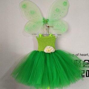 Image 3 - 1 Bộ Cosplay Tinkerbell Ma Thuật Cổ Tích Tutu Dress Up Công Chúa Cô Gái Birthday Party Dress Màu Xanh Lá Cây Kids Halloween Costume Với Wing