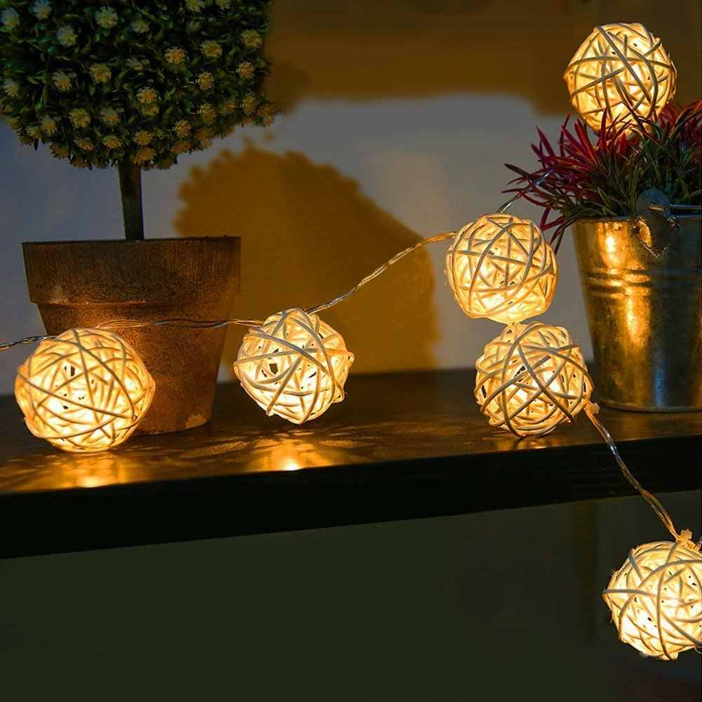 Globe Rattan Ball String Lights 3M 20 LED Warm White Fairy Light for Indoor Outdoor Bedroom Patio Lawn Landscape Fairy Garden
