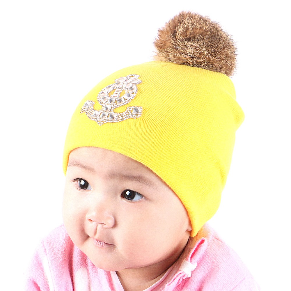 0 to 2 year old baby boy girl brand beanie hat cap real animal fur pompom cotton thermal kids children lovely winter hats gorros