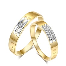 Diamond Engagement Couple Set 0.02+0.04ct Diamond Jewelry 18K Yellow Gold Handmade Wedding Jewellery Free DHL Shipping