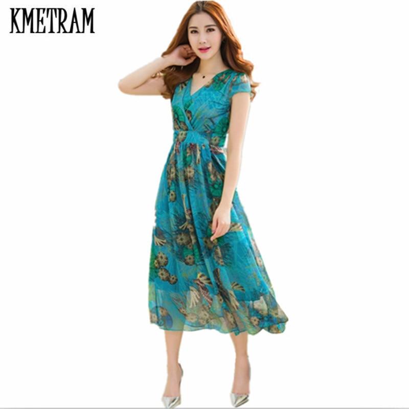 236c22182b KMETRAM 2018 Boho Style Long Dress Women Beach Summer Dresses Floral Print Chiffon  Maxi Dress Vestidos de festa Plus Size HH274