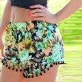 New Boho Ethnic Floral Print High Waist Shorts Women Summer Girl Beach Tassel Elastic Short Mujer Femme
