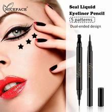 NICEFACE Two Sides Vamp Stamp Liquid Eyeliner Fast Dry Pencil Long Lasting Waterproof